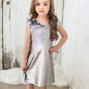 Joyfolie Neve Silver Sequin Toddler Dress